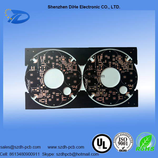 011-ALU-PCB metal core pcb manufacturing with balck matte solder mask